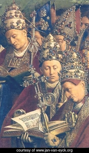 Jan Van Eyck - Ghent Altarpiece, Popes and Bishops (detail)