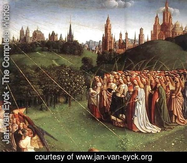 Jan Van Eyck - The Ghent Altarpiece, Adoration of the Lamb [detail top right 1]
