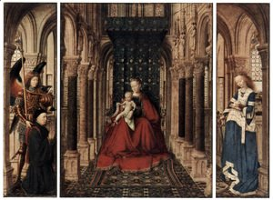Jan Van Eyck - Marienplatz altar, Dresdner triptych, rear of the wing, scene, Maria proclamation