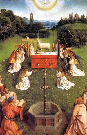 Jan Van Eyck - The Ghent Altarpiece Adoration of the Lamb (detail) 3