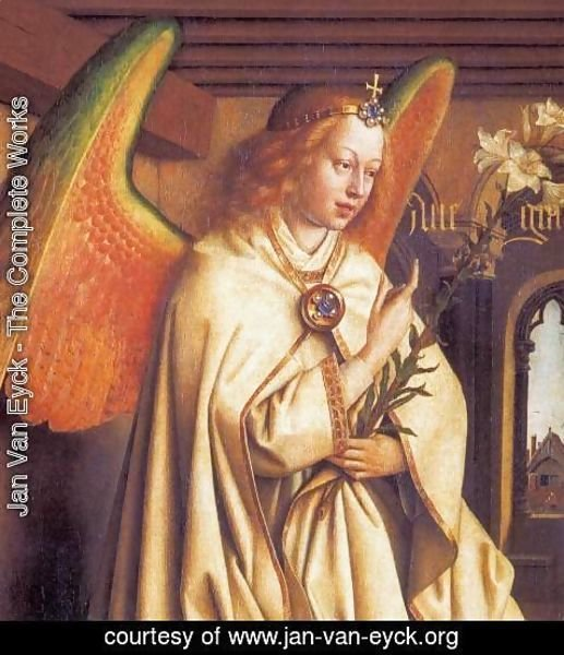 Jan Van Eyck - The Ghent Altarpiece Angel of the Annunciation (detail)