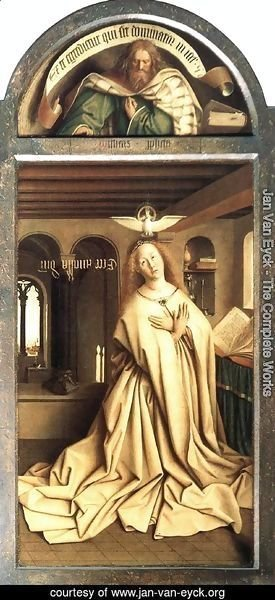 Jan Van Eyck - The Ghent Altarpiece Prophet Micheas; Mary of the Annunciation