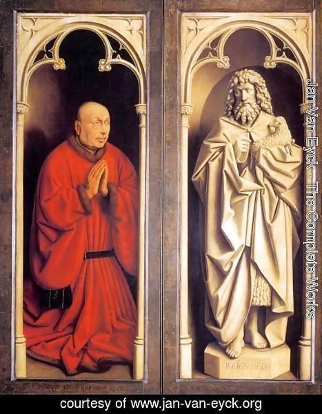 Jan Van Eyck - The Ghent Altarpiece Donor and St John the Baptist
