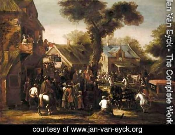 Jan Van Eyck - A Crowded Village Scene With A Messenger Reading A Proclamation