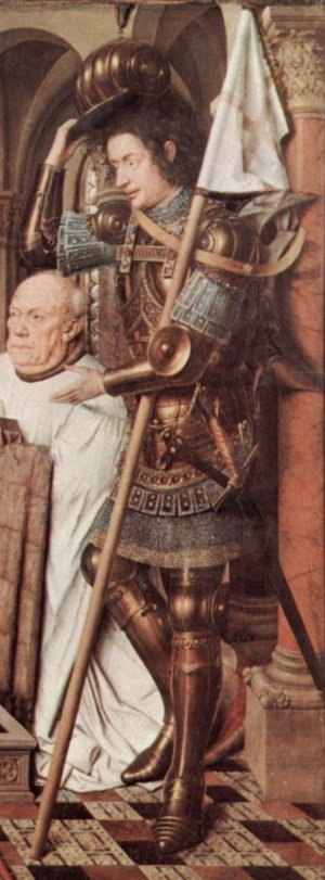 Jan Van Eyck - Parade armor Madonna of Canon George van der Paele with Domizian St., St. George and the founder Paele