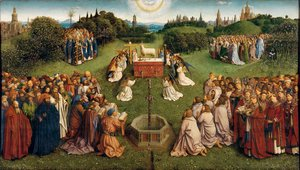 Jan Van Eyck - The Ghent Altarpiece- Adoration of the Lamb 1425-29