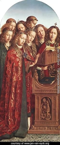 Jan Van Eyck - The Ghent Altarpiece- Singing Angels 1427-29