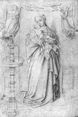 Jan Van Eyck - Copy drawing of Madonna by the Fountain