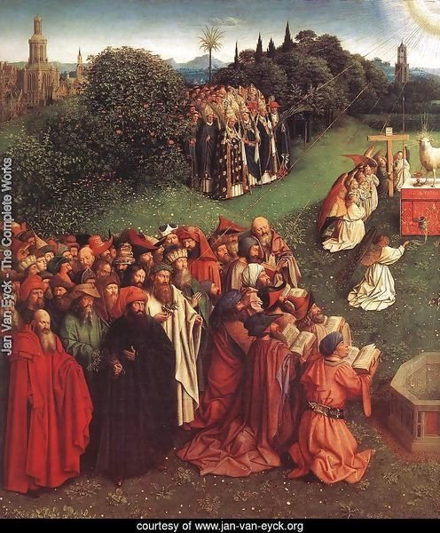 The Ghent Altarpiece- Adoration of the Lamb (detail 2) 1425-29