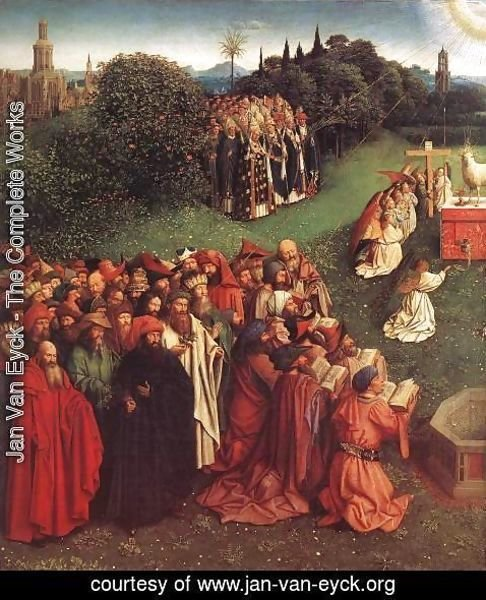 Jan Van Eyck - The Ghent Altarpiece- Adoration of the Lamb (detail 2) 1425-29