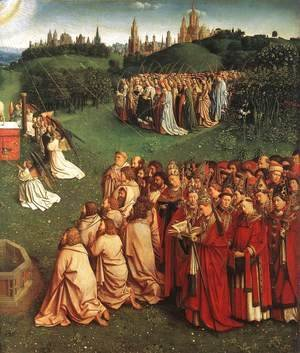 Jan Van Eyck - The Ghent Altarpiece- Adoration of the Lamb (detail 3) 1425-29
