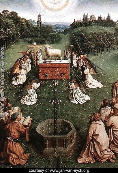 The Ghent Altarpiece- Adoration of the Lamb (detail 4) 1425-29