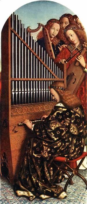 Jan Van Eyck - The Ghent Altarpiece- Angels Playing Music 1426-27