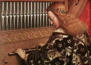 Jan Van Eyck - The Ghent Altarpiece- Angels Playing Music (detail 1) 1426-27