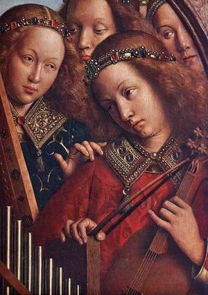 Jan Van Eyck - The Ghent Altarpiece- Angels Playing Music (detail 2) 1426-27