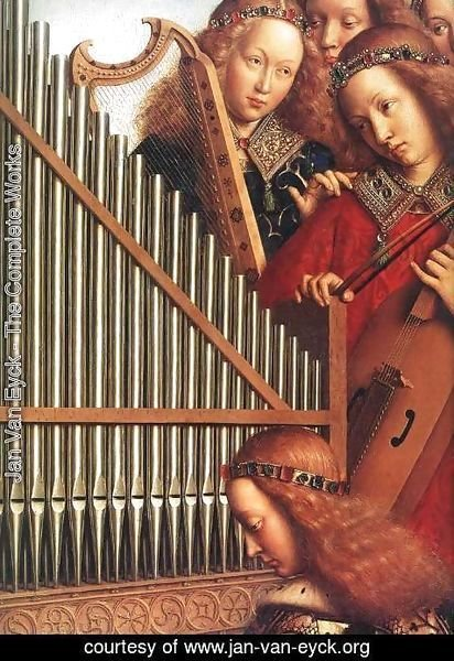 Jan Van Eyck - The Ghent Altarpiece- Angels Playing Music (detail 3) 1426-27