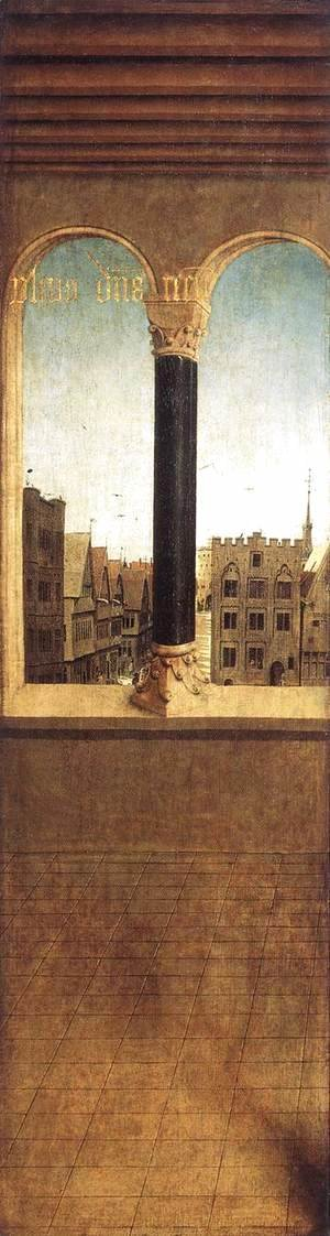 Jan Van Eyck - The Ghent Altarpiece- Arched Window with a View 1432