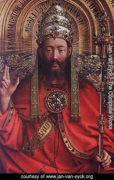 Jan Van Eyck - The Ghent Altarpiece- God Almighty (detail) 1426-27