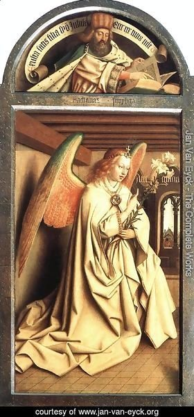 Jan Van Eyck - The Ghent Altarpiece- Prophet Micheas; Mary of the Annunciation 1432