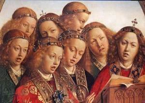 Jan Van Eyck - The Ghent Altarpiece- Singing Angels (detail 1) 1427-29