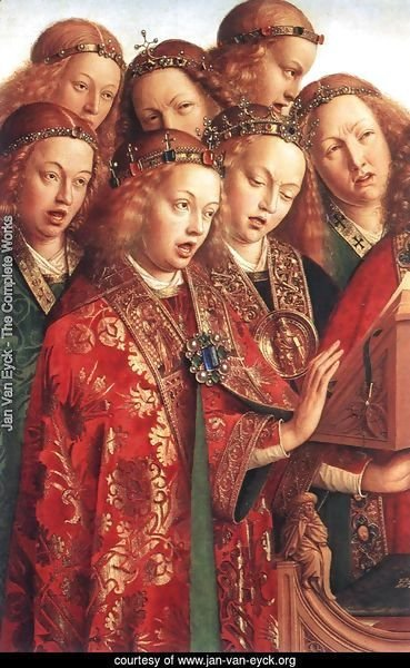 The Ghent Altarpiece- Singing Angels (detail 2) 1427-29