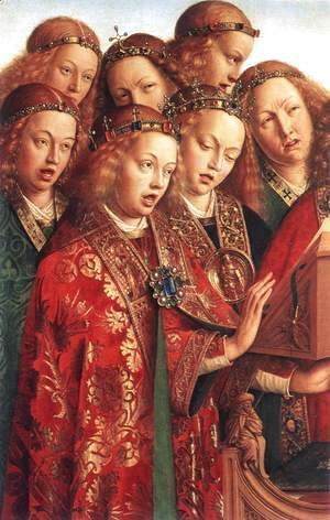 Jan Van Eyck - The Ghent Altarpiece- Singing Angels (detail 2) 1427-29