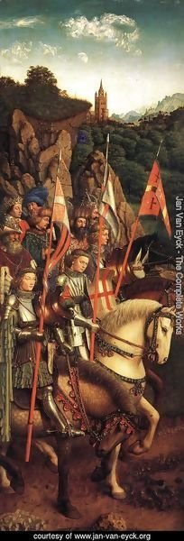 Jan Van Eyck - The Ghent Altarpiece- The Soldiers of Christ 1427-30