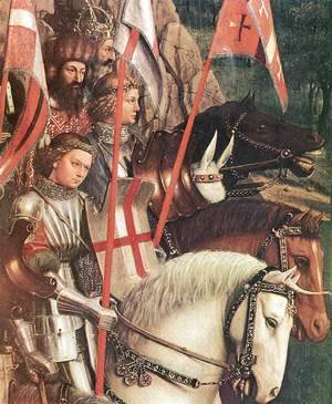 Jan Van Eyck - The Ghent Altarpiece- The Soldiers of Christ (detail) 1427-30