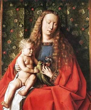 Jan Van Eyck - The Madonna with Canon van der Paele (detail 2) 1436